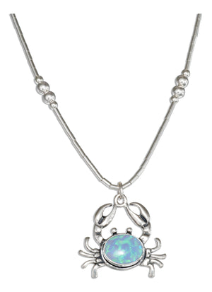Sterling Silver 16 inch Liquid Silver Synthetic Blue Opal Crab Necklace