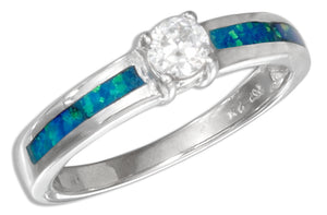 Sterling Silver Synthetic Blue Opal Inlay Ring with Cubic Zirconia
