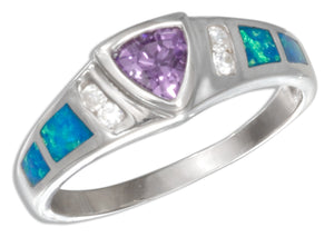 Sterling Silver Purple Cubic Zirconia Trillion and Lab Created Opal Inlay Ring