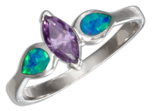Sterling Silver Marquise Purple Cubic Zirconia and Lab Blue Opal Ring