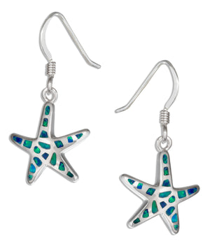 Sterling Silver Synthetic Blue Opal Starfish Earrings