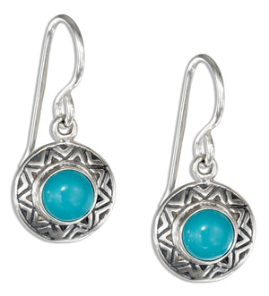 Sterling Silver Round Simulated Turquoise Earrings with Southwest Border