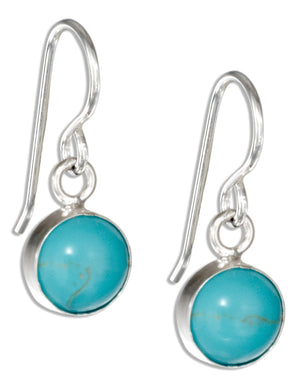 Sterling Silver Round Simulated Turquoise Dot Earrings