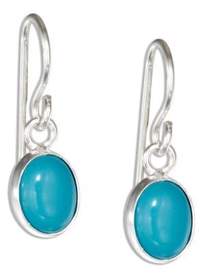 Sterling Silver Small Oval Simulated Turquoise Cabochon Earrings