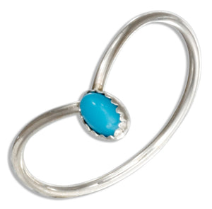 Sterling Silver Oval Faux Turquoise Chevron Wire Ring