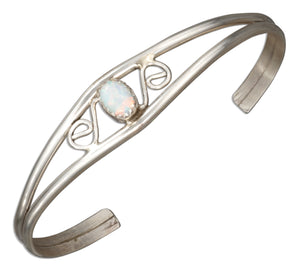 Sterling Silver Scrolled Synthetic White Opal Wire Cuff Bracelet