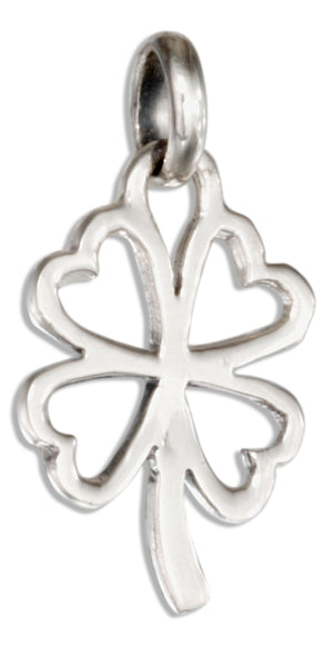 Sterling Silver Heart Shape Four Leaf Clover Pendant