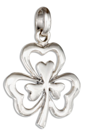 Sterling Silver Double Shamrock Charm