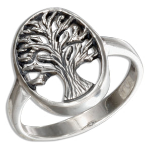 Sterling Silver Antiqued Oval Tree Of Life Ring