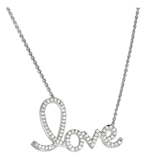 "Sterling Silver 16 to 18 inch Adjustable Cubic Zirconia ""Love"" Script Necklace"
