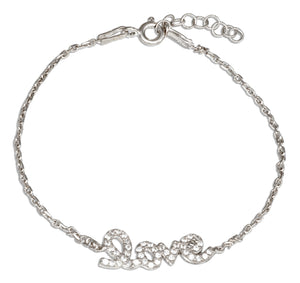 "Sterling Silver 6.5 to 7.5 inch Adjustable Cubic Zirconia ""Love"" Script Bracelet"