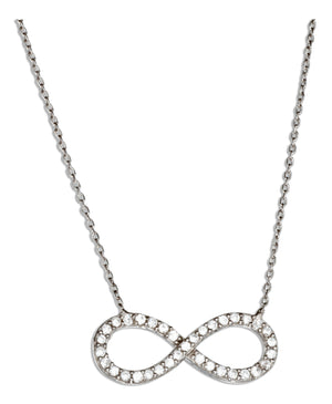 Sterling Silver 16 to 17 inch Adjustable Cubic Zirconia Infinity Necklace