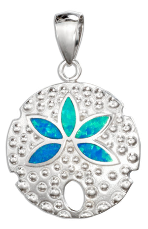 Sterling Silver Synthetic Blue Opal Sand Dollar Pendant