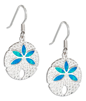 Sterling Silver Synthetic Blue Opal Sand Dollar Earrings