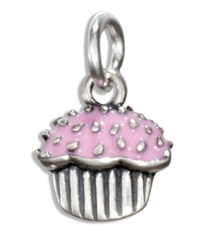 Sterling Silver Enamel Pink Frosted Cupcake Charm
