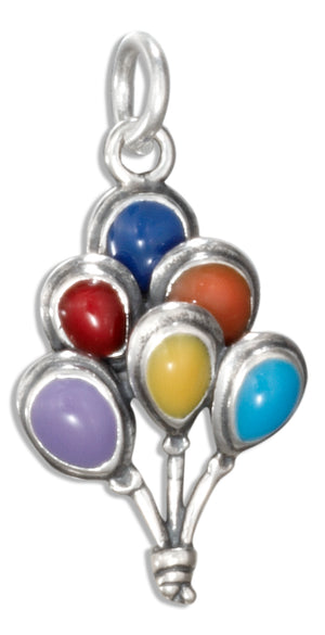 Sterling Silver Enamel Colorful Bunch Of Balloons Charm