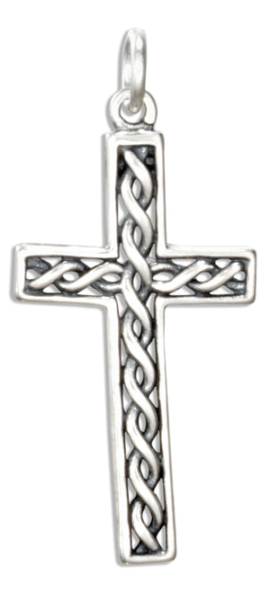 Sterling Silver Celtic Twist Cross Charm