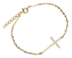 Sterling Silver 7 to 8 inch Adjustable Gold Colored Sideways Cubic Zirconia Cross Bracelet
