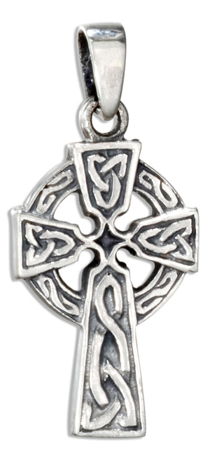 Sterling Silver Small Antiqued Celtic Cross Pendant