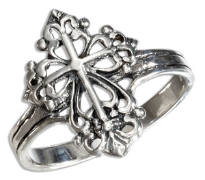 Sterling Silver Scrolled Cross Ring