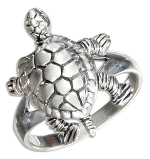 Sterling Silver High Polish Movable Turtle Ring