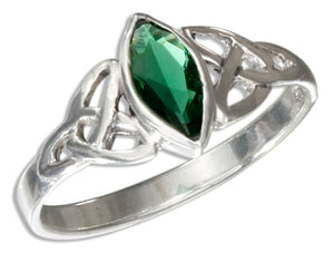 Sterling Silver Celtic Trinity Knot Ring with Green Glass Marquise