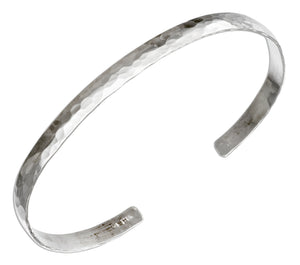 Sterling Silver 5mm Domed Hammered Cuff Bracelet