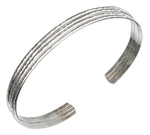 Sterling Silver Four Wire Hammered Cuff Bracelet