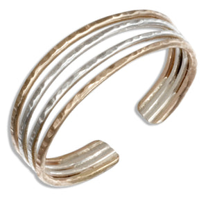 Sterling Silver and 12 Karat Gold Filled Four Wire Toe Ring