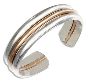 Sterling Silver and 12 Karat Gold Filled Triple Band Toe Ring