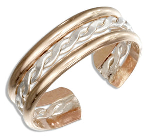 Sterling Silver and 12 Karat Gold Filled Twist Toe Ring