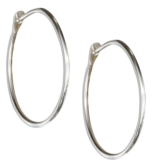 Sterling Silver 30mm Plain Wire Hoop Earrings