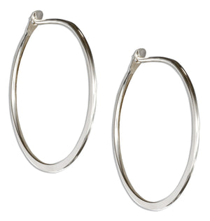 Sterling Silver 30mm Flat Bottom Plain Hoop Earrings