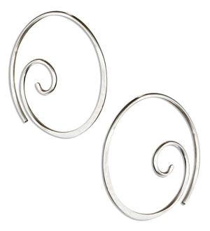 Sterling Silver 22mm Curly Spiral Threader Wire Hoop Earrings