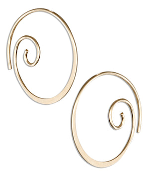 12 Karat Gold Filled 22mm Curly Spiral Threader Wire Hoop Earrings