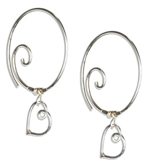 Sterling Silver Spiral Ear Threader Wire Hoop with Heart Earrings