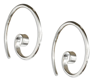 Sterling Silver 24mm Curly Spiral Threader Wire Hoop Earrings