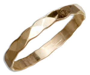 12 Karat Gold Filled 2.5mm Flat Hammered Wedding Band Ring