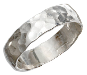 Sterling Silver 5mm Flat Hammered Wedding Band Ring