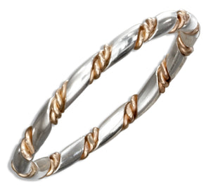 Sterling Silver Band with 12 Karat Gold Filled Twisted Wire Wrap