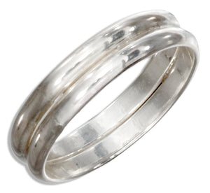 Sterling Silver High Polish Double Band Ring