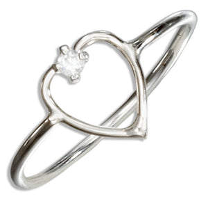 Sterling Silver Open Heart with Cubic Zirconia Wire Ring