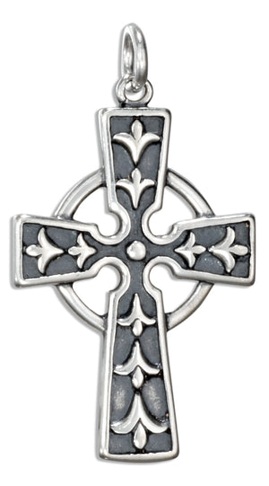 Sterling Silver Celtic Cross Charm with Fleur-de-lis Pattern
