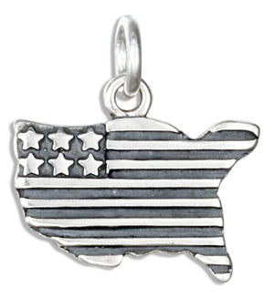 Sterling Silver United States Shaped American Flag Charm