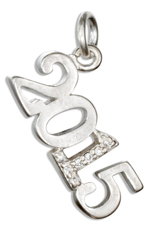 "Sterling Silver and Crystal Year ""2015"" Charm"