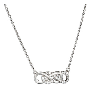 Sterling Silver and Cubic Zirconia Double Infinity Knot 18 inch Necklace