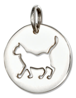 Sterling Silver Round Disk with Cut-out Silhouette Cat Charm