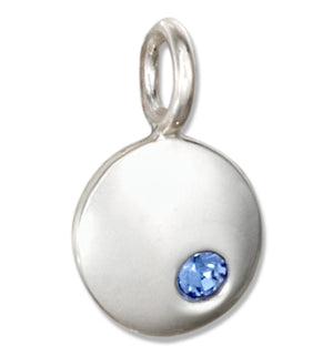 Sterling Silver Round September Birthstone Deep Blue Crystal Charm