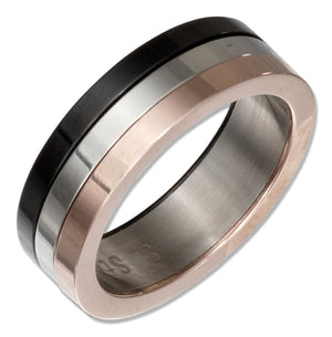 Stainless Steel Band Ring with Copper Color and Black Color