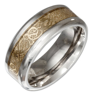 Stainless Steel Band Ring with Gold Color Celtic Knot Center